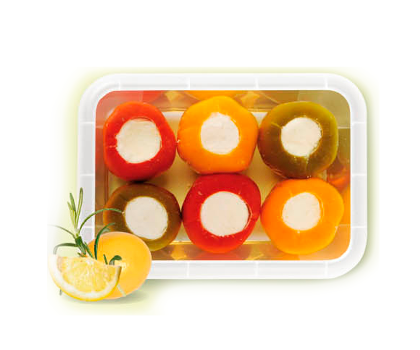 Перчики Триколор с сыром Фета в масле 240г Греко