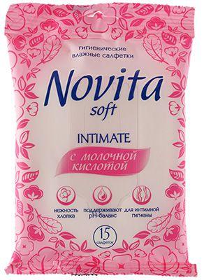 Салфетки влажные для интимной гигиены 15шт с молочной кислотой, Novita Intimate