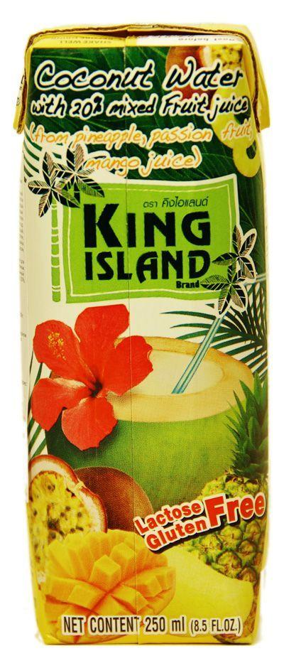 Кокосовая вода с фруктовым соком 250мл ананас, маракуйя, манго, KING ISLAND, Тайланд