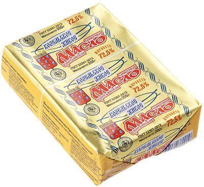 Масло сливочное живое 72,5% жир., 200г Крестьянское, несоленое, Козельский МЗ, 35 суток