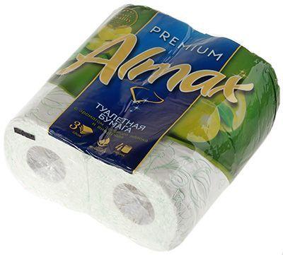 Туалетная бумага с ароматом зеленого яблока и винограда 4шт, 3-слойная, белая, ALMAX Premium Collection