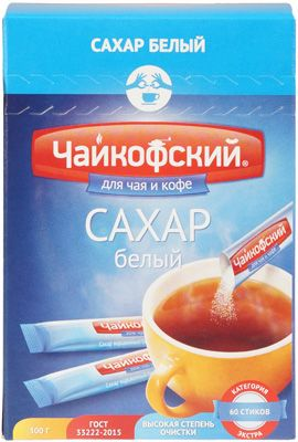 Сахарный песок в стиках Чайкофский 300г сахар порционный, Россия