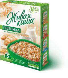 Живая каша пшеница Organic 300г 100% пророщенное зерно, Vita