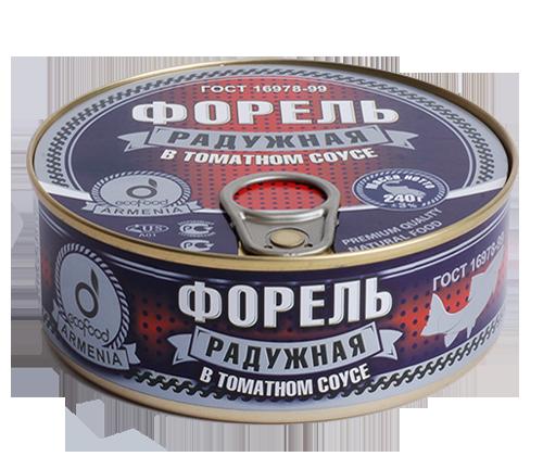 Форель радужная в томатном соусе 240г из охлажденного сырья, ГОСТ