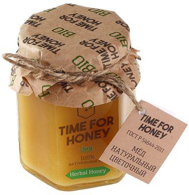 Мед цветочный 250г сбор 2015г, натуральный, Time for Honey, Bio