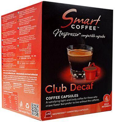 Кофе молотый Смарт Кофе Клаб Декаф 55г 10 капсул, крепость 3, аналог, подходит для Nespresso