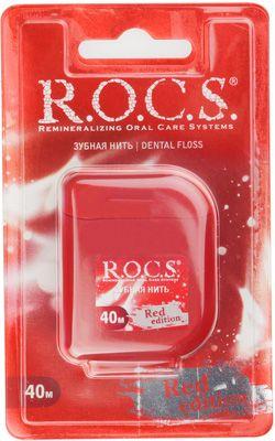 Зубная нить 40м R.O.C.S., Red Edition, крученая расширяющаяся