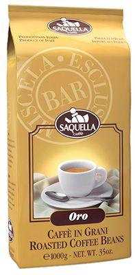 Кофе SAQUELLA Оро 1кг 85% арабика, 15% робуста, в зернах, средней обжарки, Италия