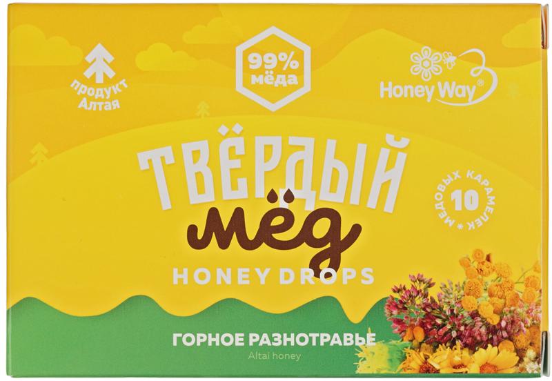 Твердый мед Горное разнотравье 30г карамель медовая, 99% меда, 10шт, Honey Way, Алтай