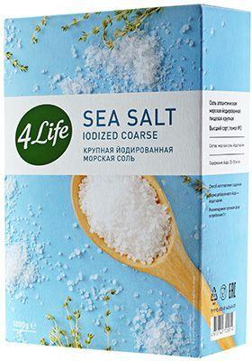 Соль морская крупная 1кг йодированная, 4LIFE, Россия