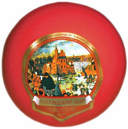 Сыр Голландский, ~ 1кг шар, 50% жирность, Россия