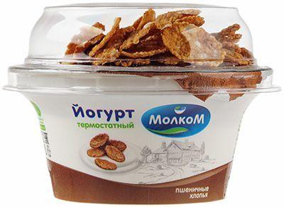Йогурт термостатный с пшеничными хлопьями 4% жир., 140г Молком, 14 суток