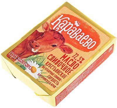 Масло сладко-сливочное Караваево 72,5% жир., 170г Крестьянское, высший сорт, Космол
