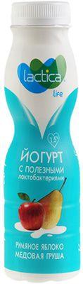 Йогурт с грушей и яблоком 1,5% жир., 280г питьевой, Лактика, 29 суток