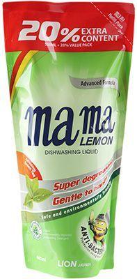 Гель для мытья посуды Зеленый чай 600мл MAMA LEMON, сменная упаковка, подходит для детских принадлежностей