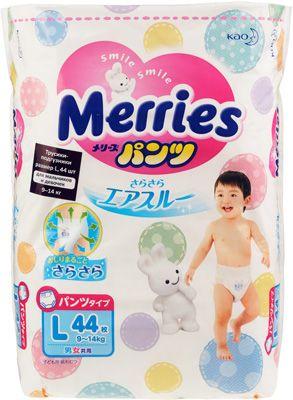 Трусики-подгузники для детей Merries размер L (9-14кг) 44шт, Япония, для мальчиков и девочек