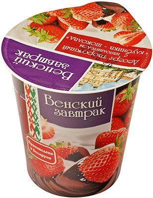 Десерт творожный Клубника-шоколад 4% жир., 150г Венский завтрак, Белоруссия