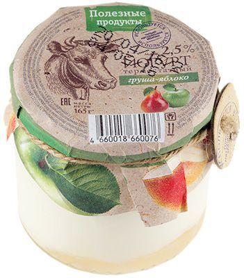 Йогурт термостатный груша-яблоко 2,5% жир., 165г Полезные продукты, 14 суток