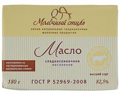 Масло сладкосливочное 82,5% жир., 180г несоленое, Молочный стиль