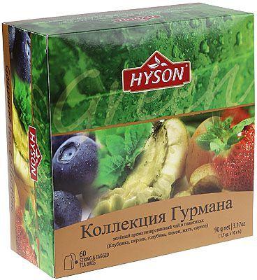 Чай HYSON зеленый Коллекция Гурмана 60шт*1,5г, 6 вкусов