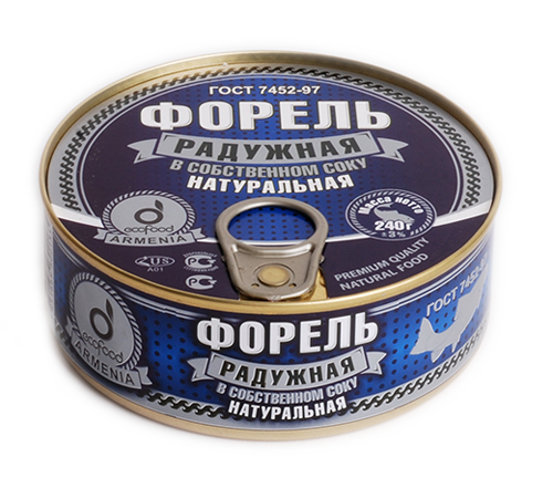 Форель радужная натуральная, 240г в собственном соку, из охлажденного сырья, ГОСТ, Армения