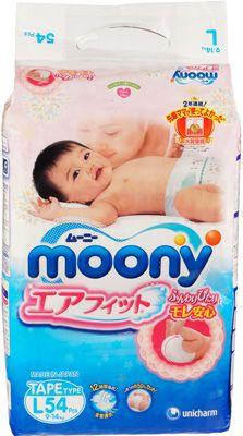 Подгузники Moony, L (9-14 кг) 54 шт, Япония, для мальчиков и девочек