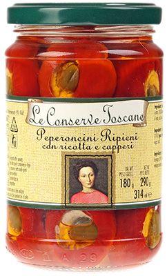 Перец острый Toscane фаршированный 290г с сыром рикотта и каперсами, Италия