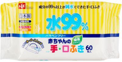 Детские влажные салфетки iPLUS на 99,9% пропитаны водой, подходят для рук и лица, Япония, 60шт