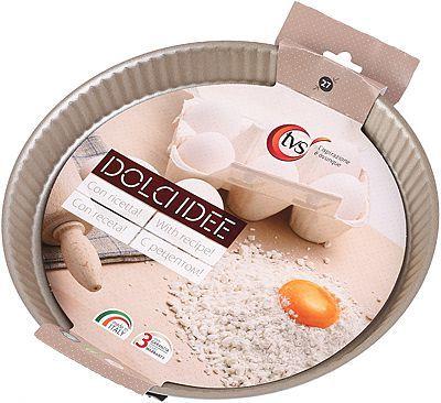 Форма для выпечки торта с низким бортом 27см Италия, из алюминия, с антипригарным покрытием IPERTEK