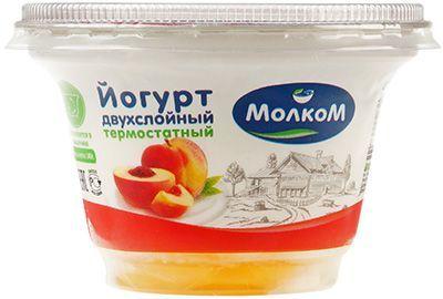 Йогурт термостатный Персик 3,3% жир., 140г двухслойный, Молком, 14 суток