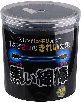 Ватные палочки черного цвета 200шт, 2 аппликатора: гладкий и спиральный, KOKUBO