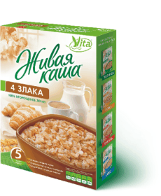 Живая каша 4 злака Organic 300г 100% пророщенное зерно, Vita