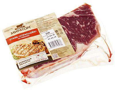 Стриплоин стейк зернового откорма 320г для жарки, охлажденный, зачищенный, Мираторг