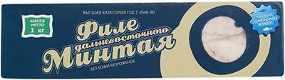 Минтай филе коробка замороженный 1 кг глазурь 5%, Приморский край
