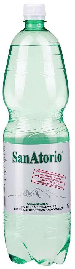 Вода СанАторио минеральная 1,5л осеребренная, лечебно-столовая, газированная