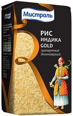 Рис Индика пропаренный Gold 1 кг длиннозерный, Мистраль
