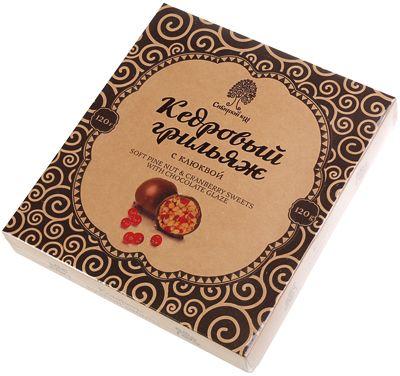 Конфеты кедровый грильяж с клюквой 120г в шоколадной глазури, Сибирский кедр