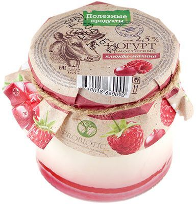 Йогурт термостатный клюква-малина 2,5% жир., 165г Полезные продукты, 14 суток