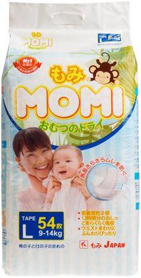 Трусики-подгузники MOMI 9-14кг размер L, 44шт, для мальчиков и девочек, Япония