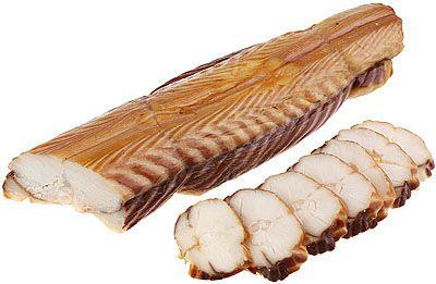 Угорь морской горячего копчения ~ 300-600г кусок, премиум, на коже