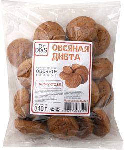 Печенье Овсяно-ржаное на фруктозе 340г Dr.DiaS, Россия
