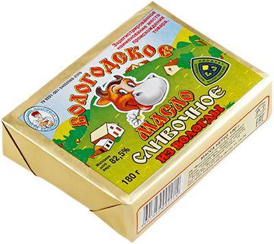 Масло сливочное Вологодское из Вологды 82,5% жир., 180г Вологодский МК