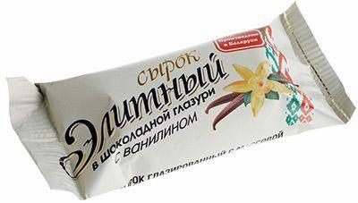 Сырок творожный Элитный 26% жир., 38г в шоколадной глазури с ванилином, Белоруссия
