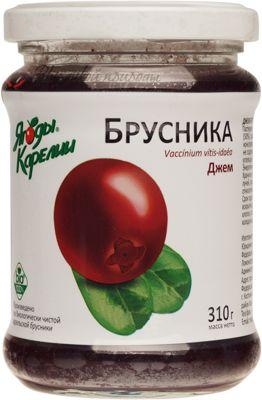 Джем брусника Ягоды Карелии 310г не содержит ГМО, без консервантов, без искусственных добавок