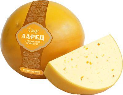 Сыр Ларец с грецким орехом 50% жир., ~ 0,9кг шар, полутвердый, Бобровский СЗ
