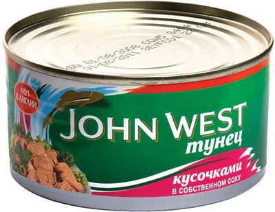 Тунец кусочками в собственном соку 185г JOHN WEST, консервированный