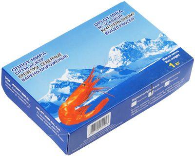 Креветки Северные дикие 1кг средние, ~50-70 шт в 1кг, варено-мороженые с головой, Сахалин