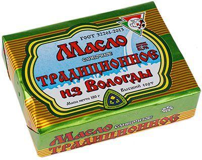 Масло сливочное из Вологды 82,5% жир., 180г традиционное