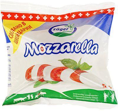 Сыр мягкий Моцарелла 45% жир., 100г шар, Zuger, Швейцария