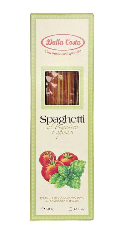 Спагетти со шпинатом и томатами, 500г Макаронные изделия Dalla Costa